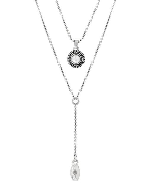 Lucky Brand | Metallic Silver-tone Freshwater Pearl Two-row Y Long Necklace | Lyst