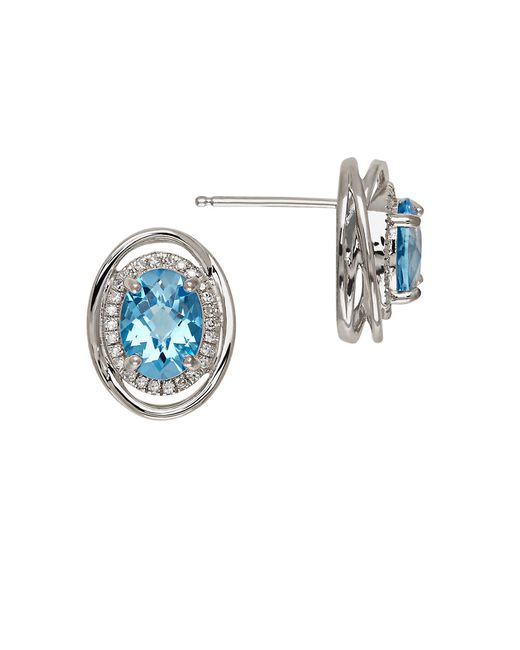 Lord & Taylor | Blue Topaz And Sterling Silver Stud Earrings | Lyst