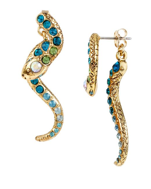 Betsey Johnson | Metallic Gold-tone Pave Crystal Snake Front And Back Earrings | Lyst