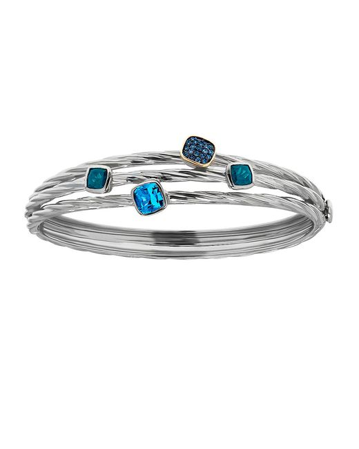 Lord & Taylor | Blue Sterling Silver And Topaz Bangle Bracelet | Lyst