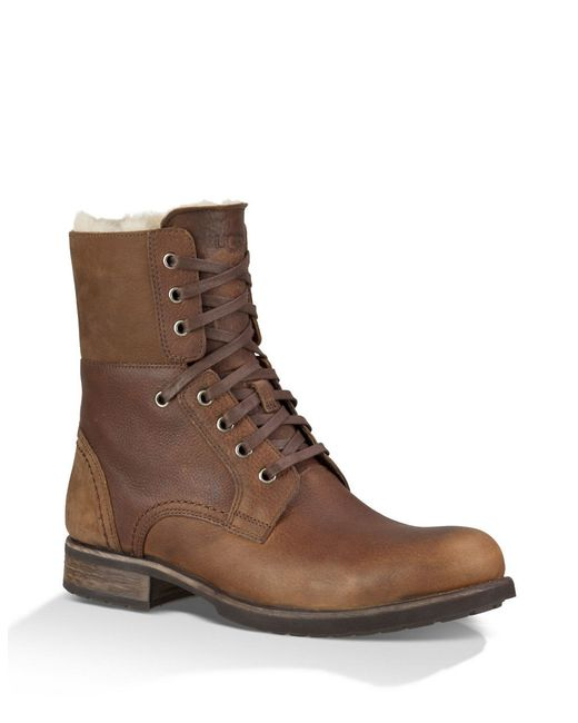 UGG | Brown Larus Shearling-lined Leather Boots for Men | Lyst