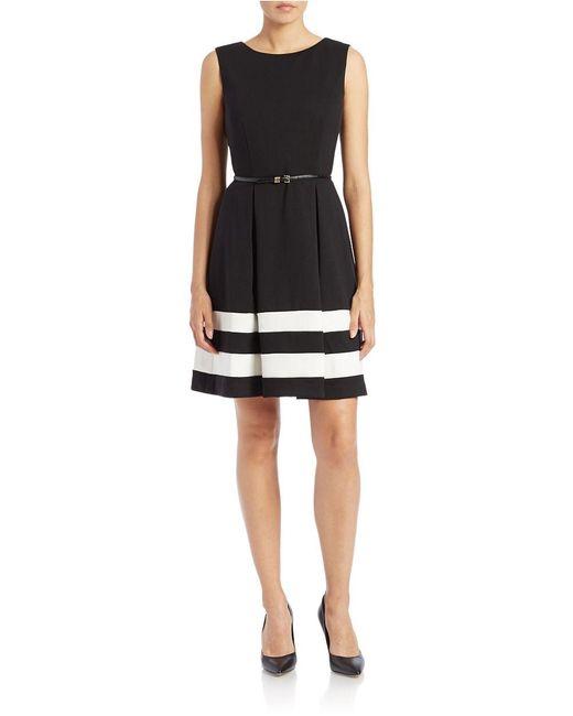 Calvin Klein | Black Belted Stripe A-line Dress | Lyst