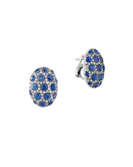 Effy | Metallic 925 Sterling Silver And Bicolor Sapphire Button Earrings | Lyst