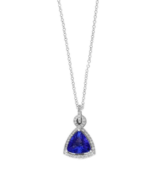 Effy | Blue Tanzanite Royale Diamond And 14k White Gold Triangle Pendant Necklace | Lyst