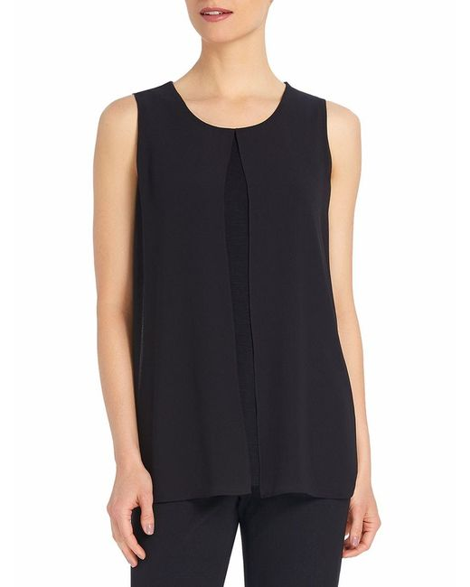 Ellen Tracy | Black Georgette Overlay Shell | Lyst