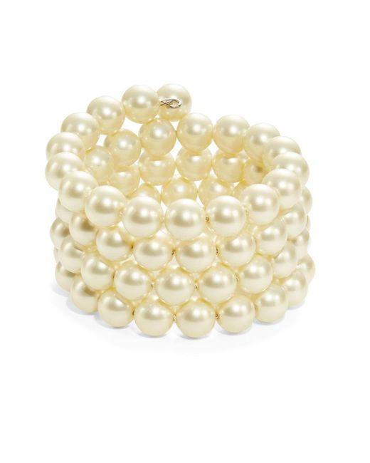 Kenneth Jay Lane | White Faux Pearl Coil Bracelet | Lyst
