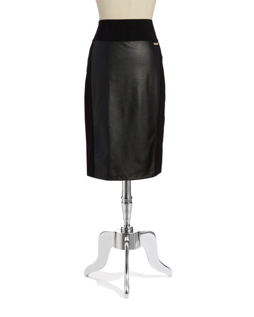 Calvin Klein | Black Faux-leather Power Stretch Skirt | Lyst