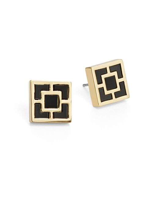 Trina Turk | Black Geo Square Stud Earrings | Lyst