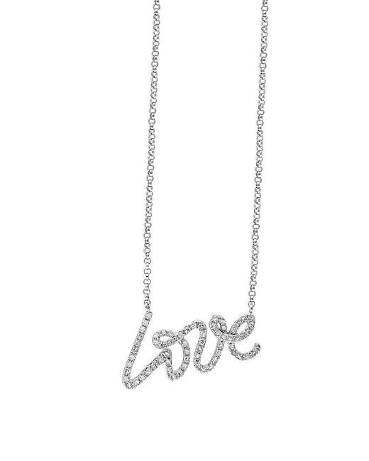 Effy | Novelty Diamond And 14k White Gold Love Pendant Necklace | Lyst