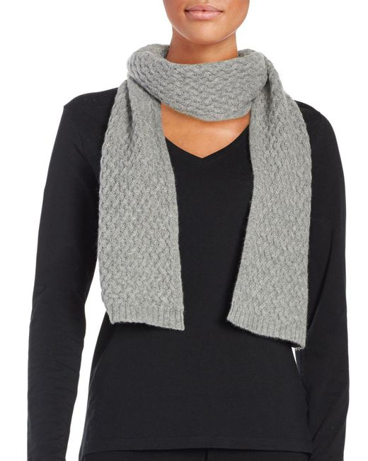 Lord & Taylor | Gray Cashmere Knit Scarf | Lyst