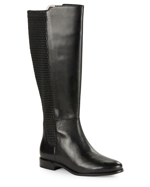 Cole Haan | Black Rockland Leather Knee-high Boots | Lyst