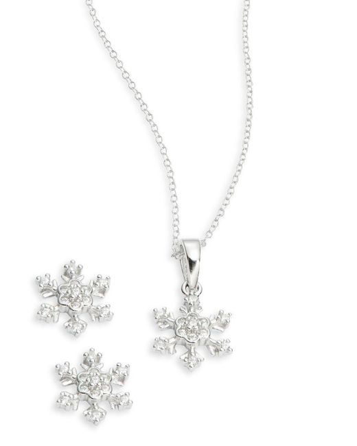 Lord & Taylor | Metallic Cubic Zirconia Snowflake Earring And Necklace Set | Lyst