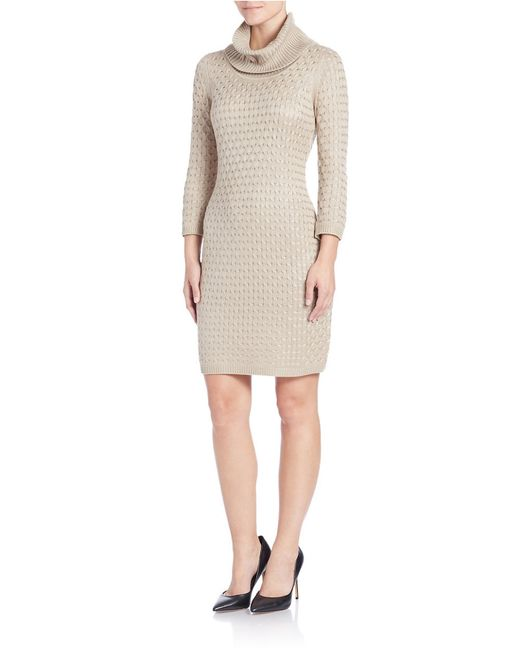 Calvin Klein | Natural Textured Sweater Dress | Lyst