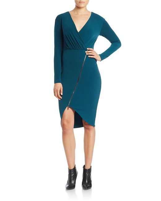 RACHEL Rachel Roy | Green Asymmetrical Zip Sheath Dress | Lyst
