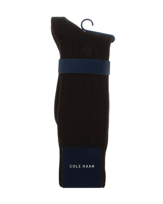 Cole Haan | Black Ribbed Crew Dress Socks for Men | Lyst