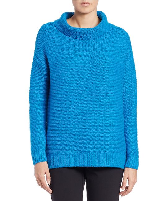424 Fifth | Blue Funnelneck Sweater | Lyst
