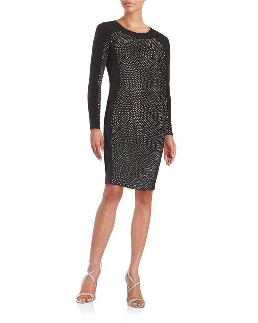Calvin Klein   Metallic Embellished Sheath Dress   Lyst