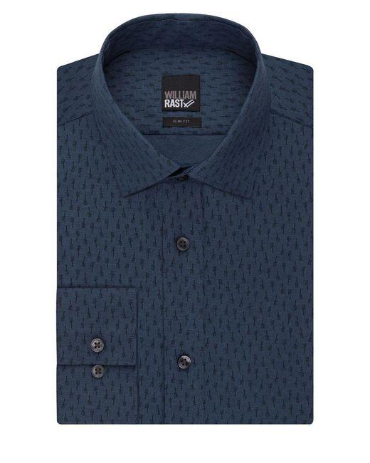 William Rast | Blue Textured Slim Fit Dress Shirt for Men | Lyst