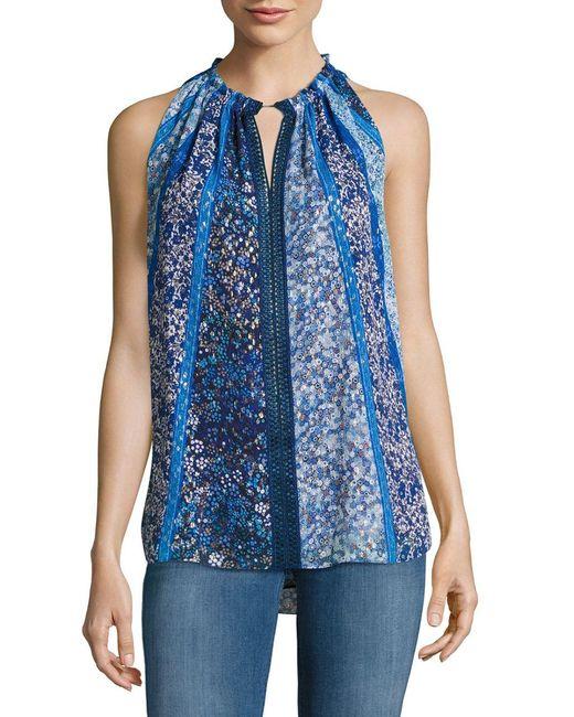 Elie Tahari   Blue Bessie Sleeveless Floral-print Blouse   Lyst