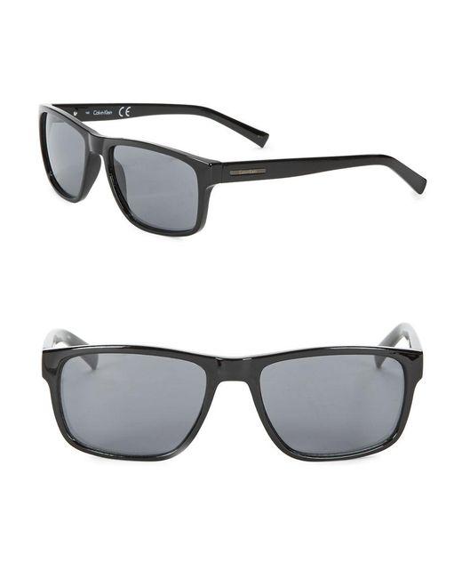 Calvin Klein | Black 57mm Rectangular Sunglasses | Lyst