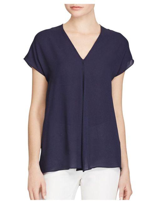 Lauren by Ralph Lauren | Blue ??eorgette Short-sleeve Top | Lyst