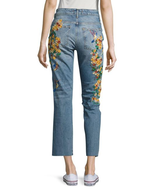 Free People Embroidered Ankle Jeans In Blue  Lyst
