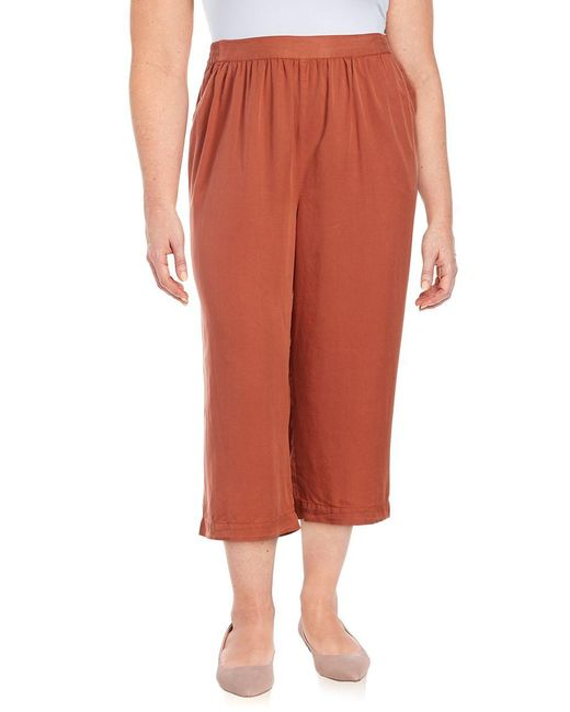 B Collection By Bobeau | Red Plus Cropped Wide-leg Pants | Lyst