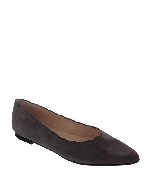 Patricia Green | Gray Scallop Suede Ballet Flats | Lyst