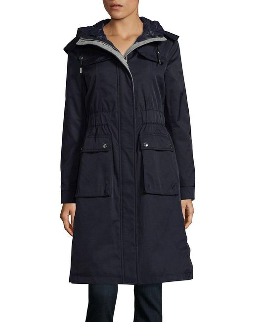 Laundry by Shelli Segal | Blue Zippered Hooded Anorak | Lyst