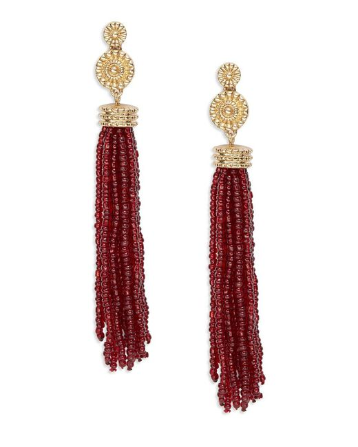 Lord & Taylor   Red Beaded Tassel Earrings   Lyst