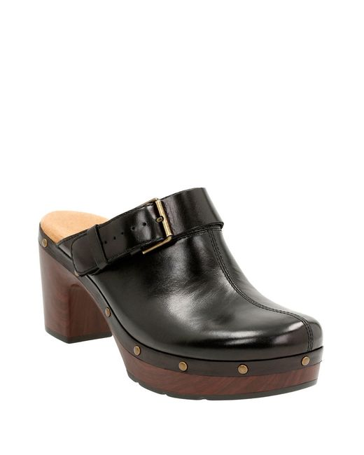 Clarks Artisan Ledella York Leather Clogs In Black Lyst