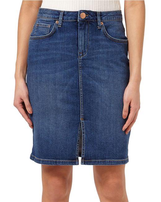 miss selfridge denim midi skirt in blue save 26 lyst