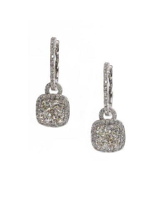 Effy - Metallic Bouquet Diamond And 14k White Gold Drop Earrings - Lyst