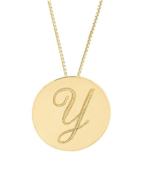 Lord & Taylor - Metallic 14k Yellow Gold Initial Pendant Necklace - Lyst