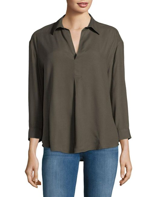 Lord & Taylor - Green Long-sleeve Hi-lo Blouse - Lyst