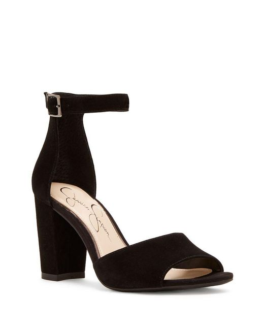 Jessica Simpson - Black Sherron Suede Block Heel Sandals - Lyst