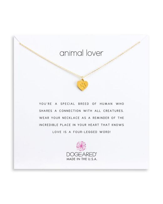 Dogeared - Multicolor Animal Lover Paw Heart Pendant Necklace - Lyst