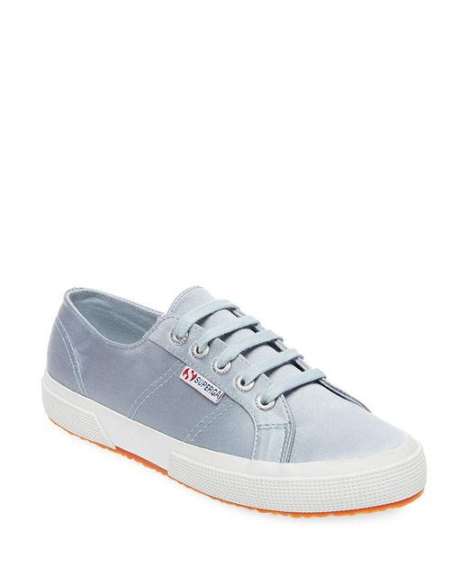 Superga - Gray Satin Lace-up Sneakers - Lyst