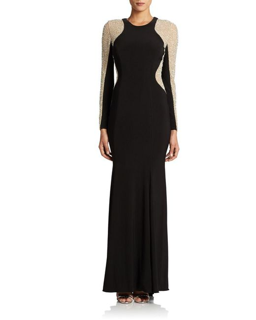 Xscape - Black Plus Long Sleeved Beaded Gown - Lyst