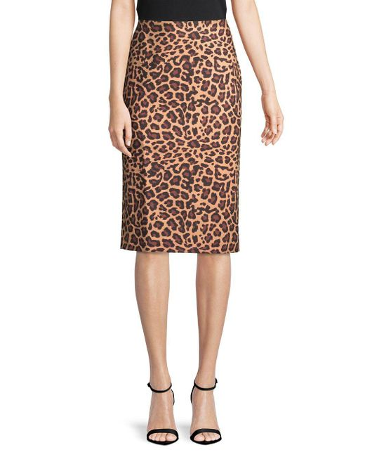 e2429eef11f Lyst - Lord   Taylor Plus Printed Pencil Skirt in Brown - Save ...