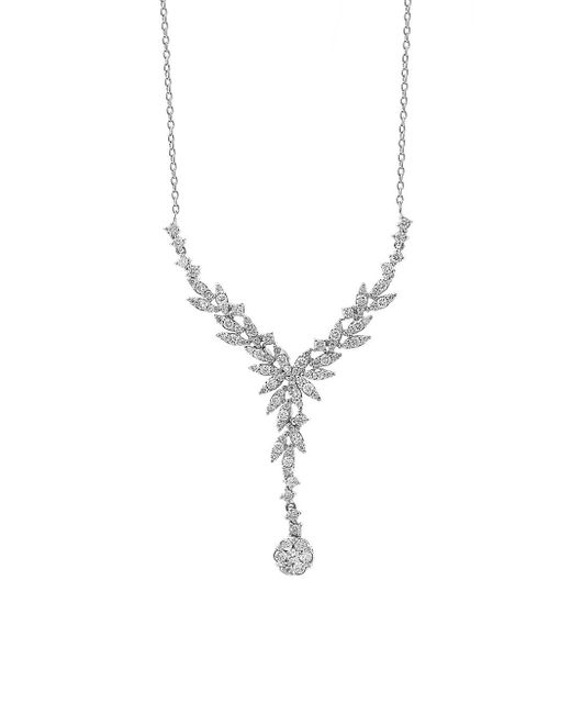 65734b4348405b Effy 14k White Gold And White Diamond Y-necklace in Metallic - Lyst