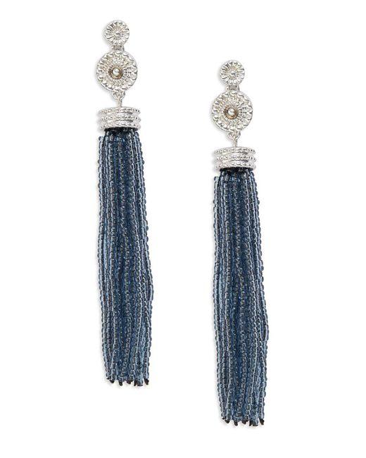 Lord & Taylor | Blue Beaded Tassel Earrings | Lyst