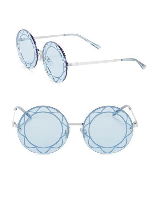 Circus by Sam Edelman - Blue 55mm Geo-motif Round Sunglasses - Lyst