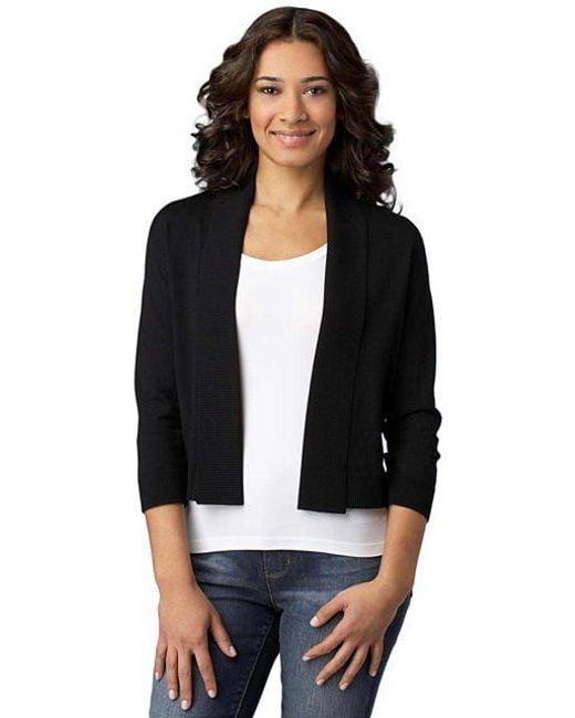 CALVIN KLEIN 205W39NYC - Black Plus Three Quarter Sleeve Shawl Sweater - Lyst