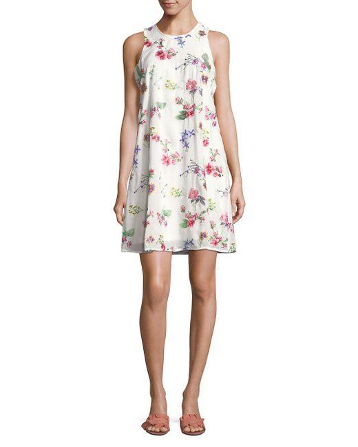 Calvin Klein - White Floral Sleeveless Mini Dress - Lyst