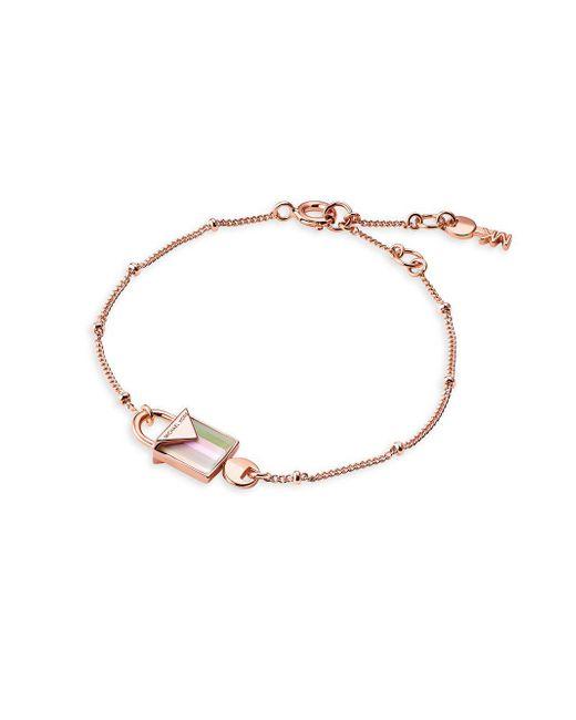 Michael Kors - Metallic Rose Quartz And Sterling Silver Mercer Padlock Charm Bracelet - Lyst