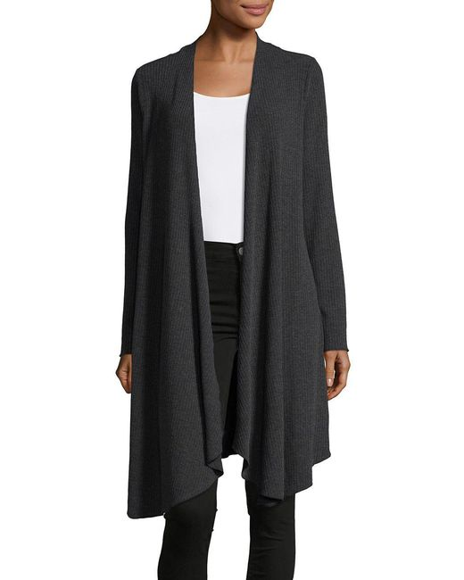 Lord & Taylor | Gray Ribbed Open Front Cardigan | Lyst