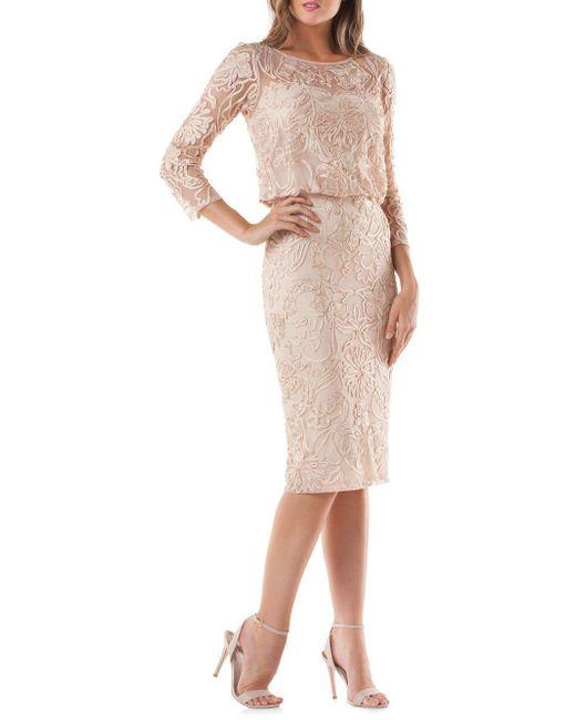 JS Collections - Multicolor Lace Blouson Cocktail Dress - Lyst