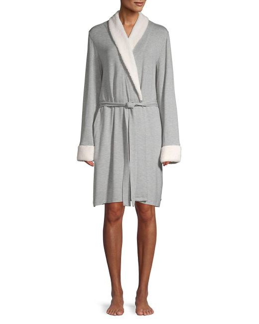 Sesoire - Gray Plush Wrap Front Robe - Lyst