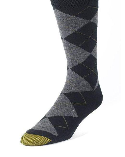 Goldtoe - Black Argyle Socks for Men - Lyst